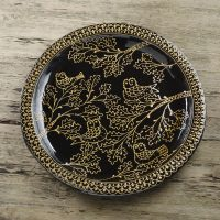 Hannah-McAndrew-Slip-Trailed-Oak-Owl-Charger-Black-Slipware-Shannon-Tofts