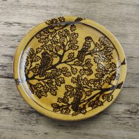 Hannah-McAndrew-Slip-Trailed-Oak-Owl-Charger-Honey-Slipware-Shannon-Tofts